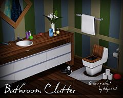 Sims 3 bathroom, clutter, set, furniture
