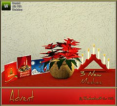 Sims 3  Poinsettia Plant, Advent Light, Christmas Cards