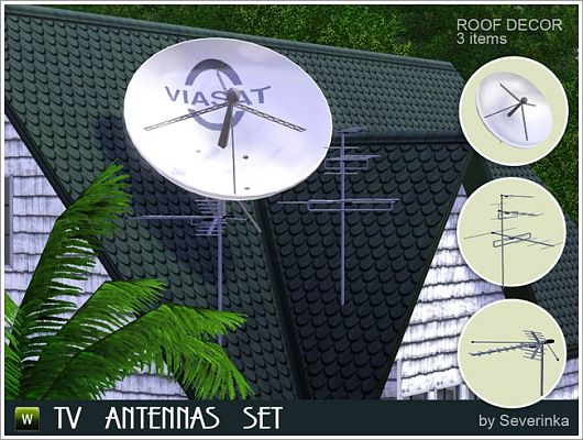 Sims 3 antenna, TV, objects