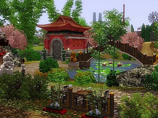 Sims 3 garden, lot, community, asian, chinese