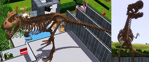 Sims 3 dinosaur, phoenix, decor, outdoor, objects, statue