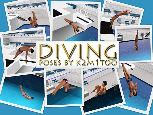 Sims 3 pose, poses, set, diving