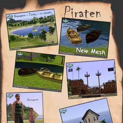 Sims 3 pirate, set, items, houses, boats