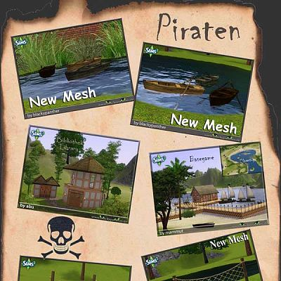 Sims 3 pirate, set, items, boats