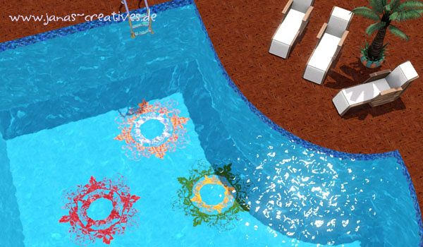 Sims 3 pool, cover, wall, mosaic