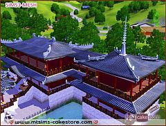 Sims 3 roof, decor, asian