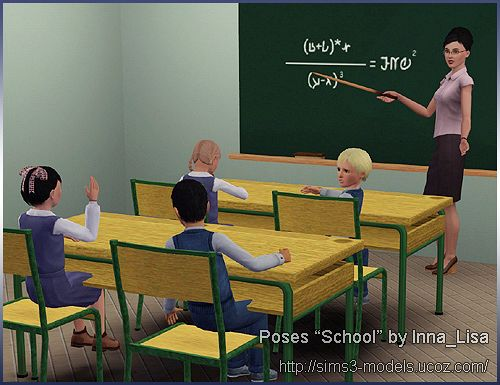 Sims 3 pose, poses, set, school