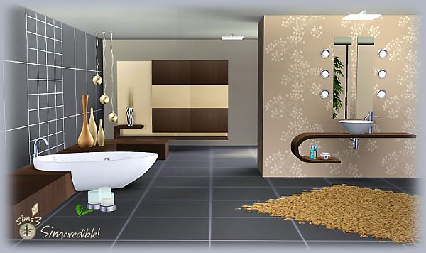 Sims 3 bathtub, sink, ceiling lamp, shower, cube, corner, vase, candle, dresser, rug, pottery, mirror