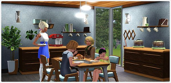 Sims 3 dining, diningroom, furniture, sims3, set, clothes, hairs