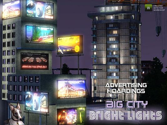 Sims 3 light, decor, advertising