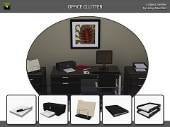 Sims 3 office, study, clutter, decor