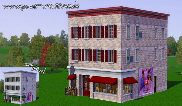 Sims 3 lot, community, bookstore