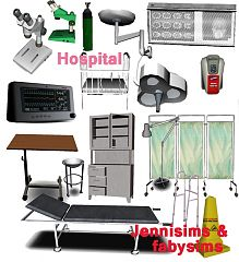 Sims 3 set, hospital, objects