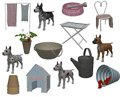 Sims 3 outdoor, backyard, garden, dog, laundry