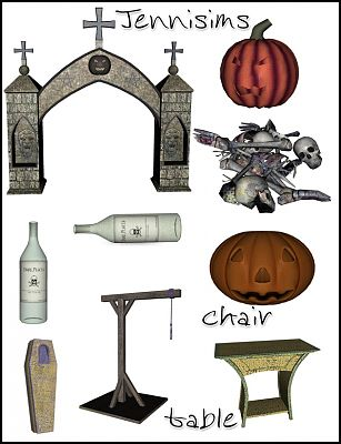 Sims 3 halloween, objects, decor, set