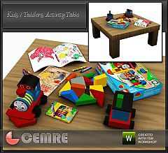 Sims 3 kids, table, baby, Lego box, coloring book pages, crayons