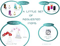 Sims 3 decor, clutter, perfume, candle, alarm clock, decoration