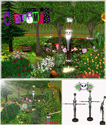 Sims 3 scarecrow, lighted, Christmas, Jack Skellington, decor, object