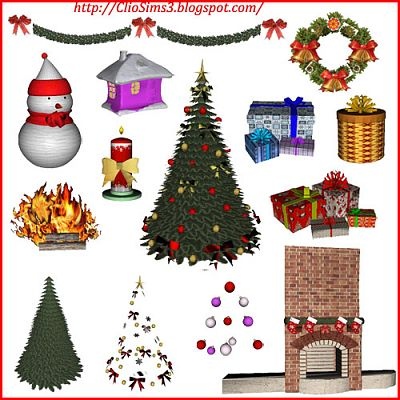Sims 3 livingroom, furniture, objects, decor, Christmas