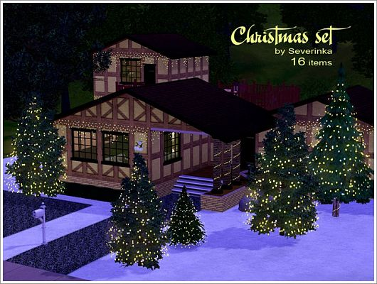 Sims 3 set, decor, objects, christmas, lighting