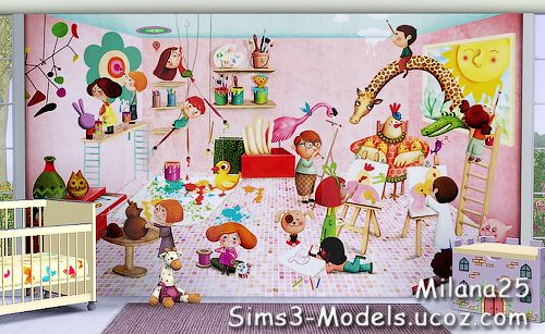 Sims 3 wall, wallpapers, murals, decor