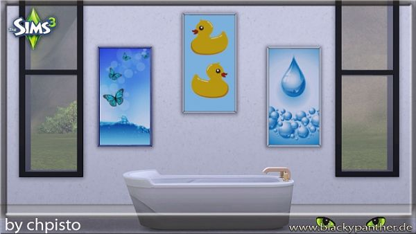 Sims 3 bath, bathroom, paintings, set