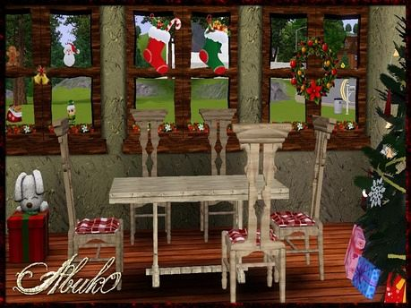 Sims 3 set, furniture, build, chair, table, window