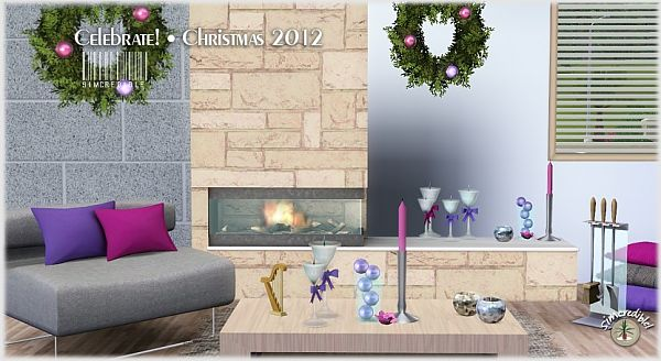 Sims 3 tree, fireplace, objects, christmas, decor, set