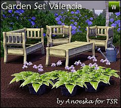 Sims 3 loveseat, chair, coffee table, watering can