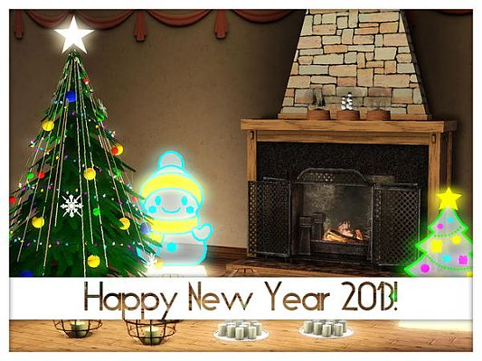 Sims 3 set, winter, new year, objects