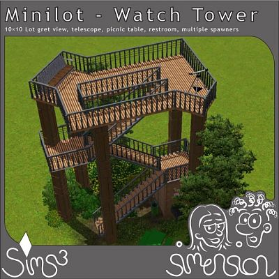 Sims 3 lot, tower, building