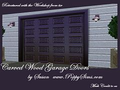 Sims 3 door, garage, carved, wood