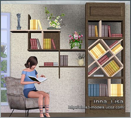 Sims 3 book, shelf, object, deor, furniture