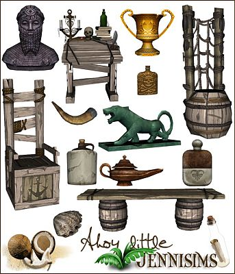 Sims 3 objects, decor, medieval, pirates