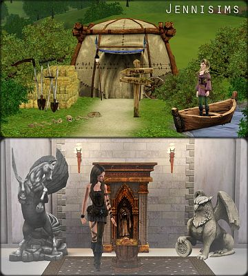 Sims 3 objects, medieval, clutters, decor