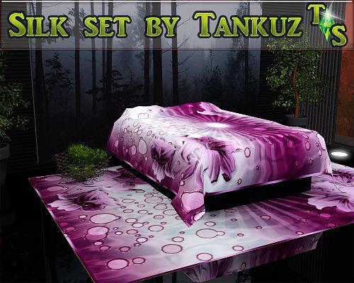 Sims 3 decor, bed covering, sheets, silk, set