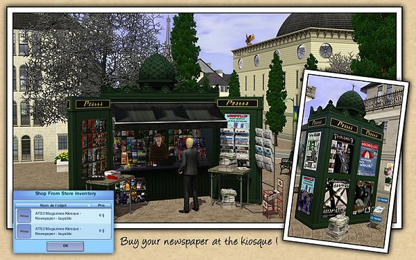 Sims 3 kiosque, newspaper, objects, mod