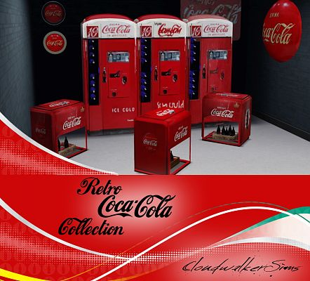 Sims 3 objects, decor, coca cola, retro