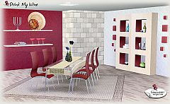 Sims 3 dining, chair, shelves, flowers, table, wall art