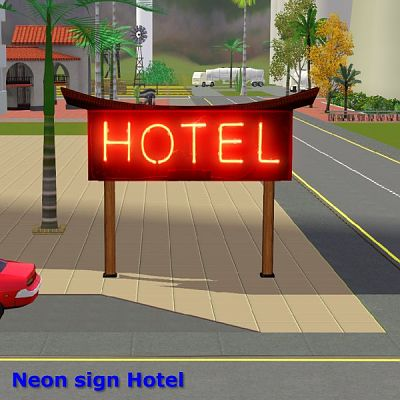 Sims 3 neon, sign, hotel