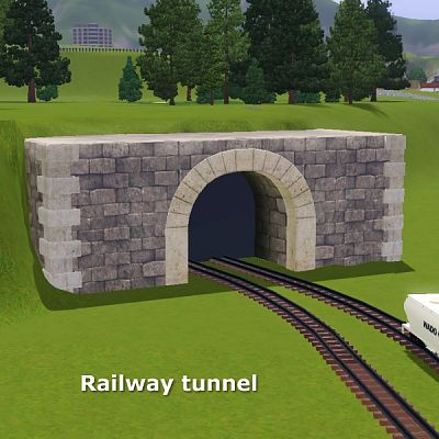 Sims 3 railway, tunel, decor