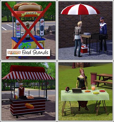 Sims 3 food, stand, table, barbeque, kiosk