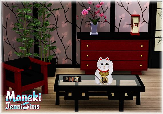 Sims 3 cat, japanese, decor, object