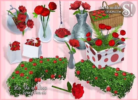 Sims 3 decor, objects, vase, flowers