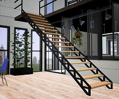 Sims 3 build, steel, stairs, windows