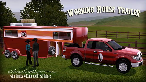 Sims 3 car, trailer, vehicle, horse