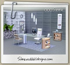 Sims 3 Office Chair, Desk,  Calendar, Calculator, End Table, Papers Tray, Ceiling, Plant,Wallpapers Rack
