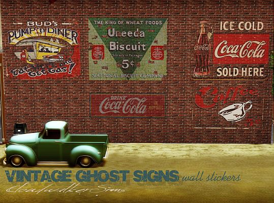 Sims 3 wall, paint, advertising, vintage