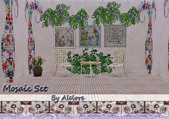 Sims 3 paint, painting, decor, objects, mosaic