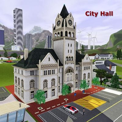 Sims 3 city, hall, community, lot